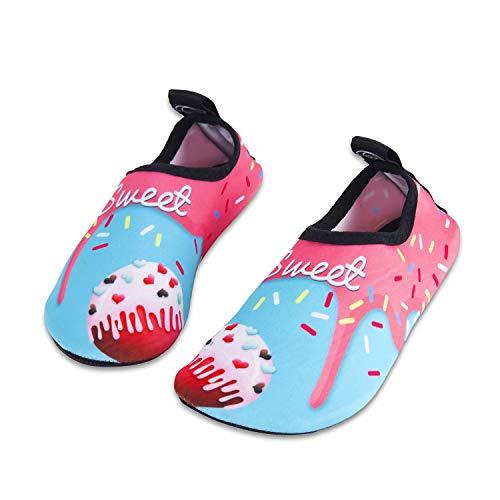 (Toddler Kids Water Shoes Lightweight Non-Slip Aqua Socks Shoes for Beach Walking for Boys Girls Toddler(Icecream,24/25))