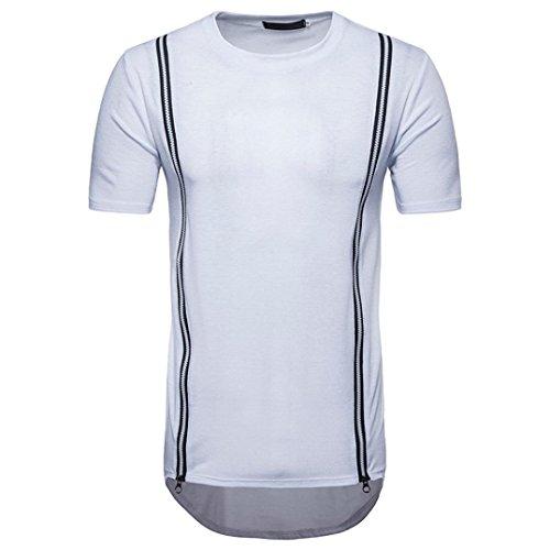 Bluestercool Hommes Casual Slim Zipper Manches Courtes Col Rond T-shirt Top Blanc