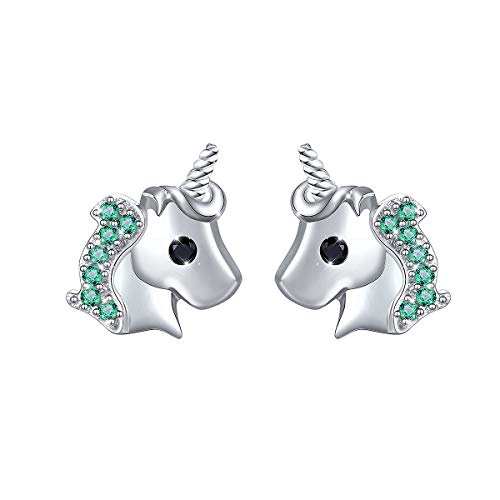 Yearace 925 Sterling Silver Hypoallergenic Cute Green Cz Unicorn Stud Earrings Gift for Women Teen Girls (Nickel Free) (Green) (Silver Single Sterling 925)