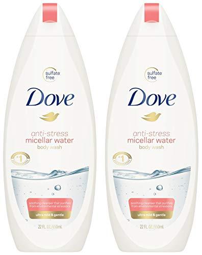 Dove Body Wash - Anti-Stress Micellar Water - Ultra Mild & Gentle - Sulfate Free - Net Wt. 22 FL OZ (650 mL) Per Bottle - Pack of 2 Bottles