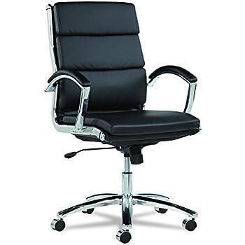 Alera Neratoli Mid-Back Swivel/Tilt Chair, Black Soft-Touch Leather