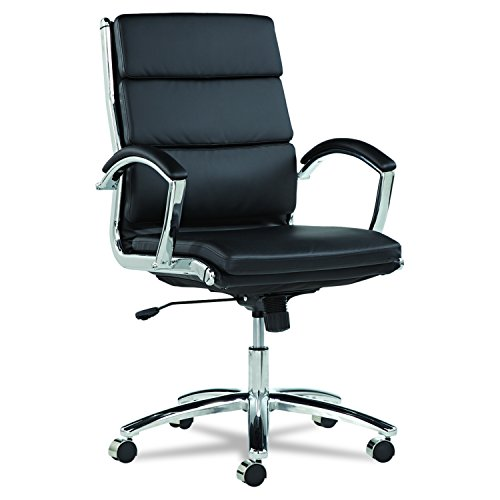 Alera Neratoli Mid-Back Swivel/Tilt Chair, Black Soft-Touch Leather by Alera