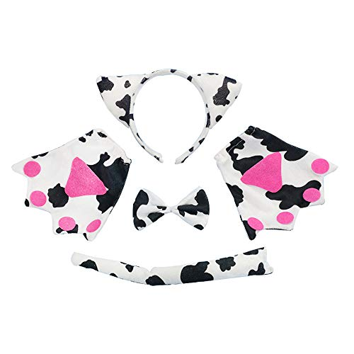 Cosplay Costume Set 5 Pcs Kids Cosplay, Ears Headband, Tail, Collar, Paws, Gloves(Cow) -
