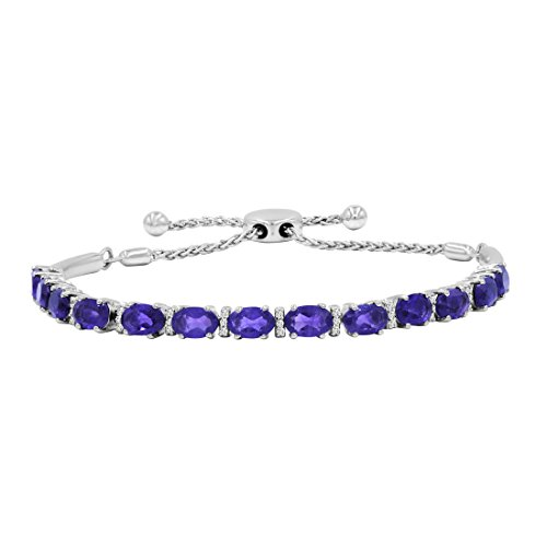 Amethyst and White Topaz Bolo Bracelet in .925 Sterling Silver 5ct Total Gem Weight