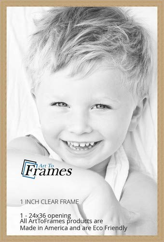 ArtToFrames 24x36 inch Clear Finish on Hard Maple Wood Picture Frame, WOM0066-60823-YCLR-24x36