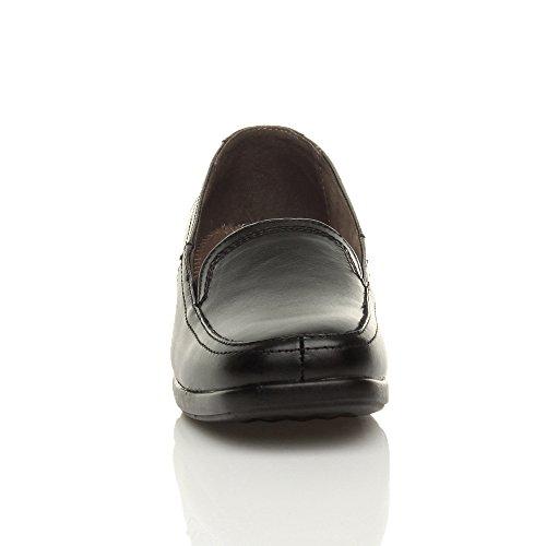 Noir Chaussures Pointure Mocassin flâneur Cuir Travail Talon Femmes Bas Confort Moyen A06zvq