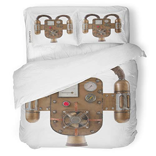 SanChic Duvet Cover Set Machine Steampunk Jetpack Part of Costume Victorian Copper Decorative Bedding Set with 2 Pillow Cases Full/Queen -