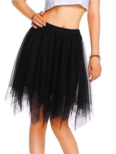 Short Bubble Skirt - Beluring Womens Short Layered Tulle Adult Dance Ballet Casual Bubble Skirt,Black,One Size