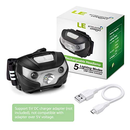 LE Rechargeable LED Headlamp, 5 Lighting Modes, Lightweight Headlight for Outdoor, Camping, Running, Hiking, Reading and more, USB Cable Included, Pack of 3 by Lighting EVER (Image #7)
