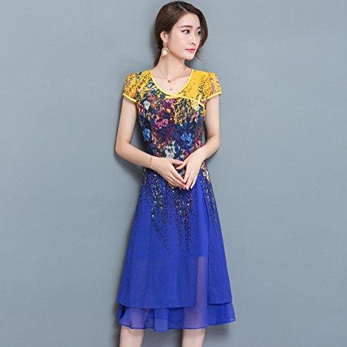 XIU*RONG V Collar Con Manga Corta Vestido Impresión Chiffon Vestido Mama Falda blue