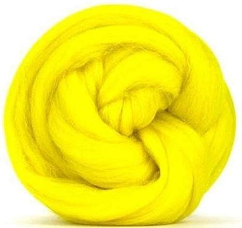 4 oz Paradise Fibers 64 Count Dyed Jonquil (Yellow) Merino Top Spinning Fiber Luxuriously Soft Wool Top Roving for Spinning with Spindle or Wheel, Felting, Blending and Weaving ()