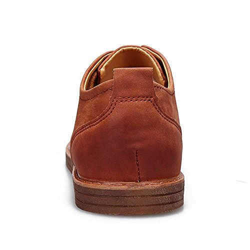 Taoffen Men Casual Derby Shoes Lace Up Footwear Brown