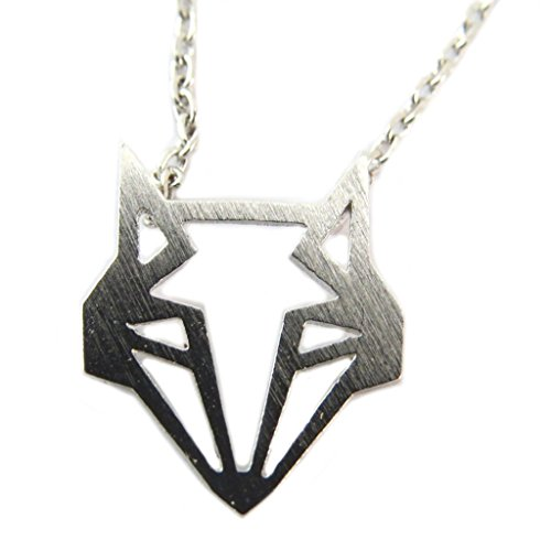 Handmade necklace 'Origami' (fox)silver - 12x12 mm - Silver Origami 12mm