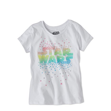 Glitter Logo Tee (Star Wars Girls Pastel Glitter Rainbow Logo Graphic T-Shirt (7/8))