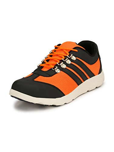 Eego Italy® Genuine Leather Light Weight Men's Steel Toe Safety Shoes with Anti Skid Sole Orange
