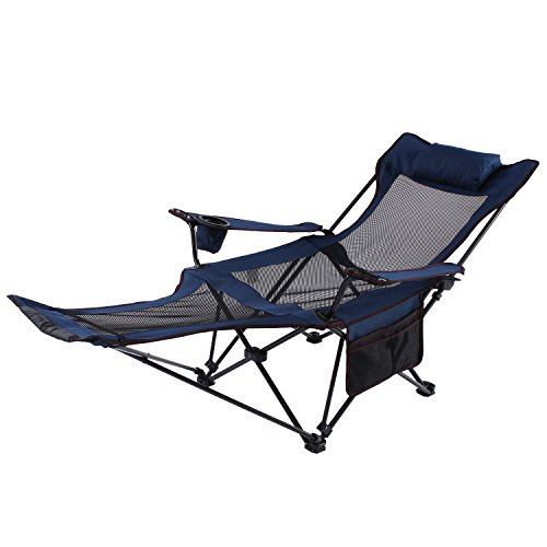 (Seatopia Camping Recliner and Lounge Chair, Backpacking Folding Chair with Headrest, Footrest and Storage Bag for Outdoor Camping, BBQ, 300lbs Weight Capacity)