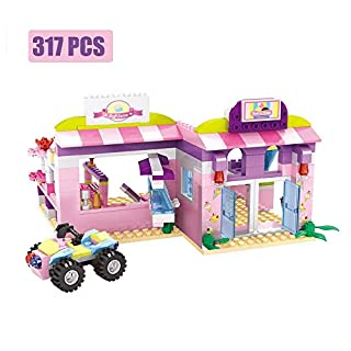 Dream Girls Friends Ice Cream Shop Building Set - Pink Seaside Beach Dessert Shop with 3 Mini People and a Beach Four-Wheeled ATV Quad Toy - Construction Play Set for Kids Aged 6-12 and Up, 317 Pcs