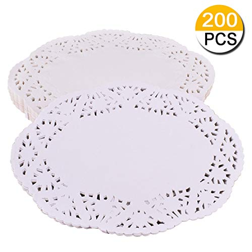 200 Piece White Oval Doilies Lace Doily Paper Cake Packaging Paper Pad Placemats Crafting Coaster for Party Wedding Table Supplies Decorations 6.5 x 9 inch