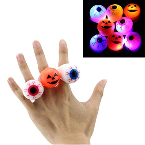 Weiyun Halloween Toys Flashing Ring with Luminous Eyes & Grimace ,Funny Glowing Ring for Halloween Party Props,Soft Silicone Material,Random Style x 1