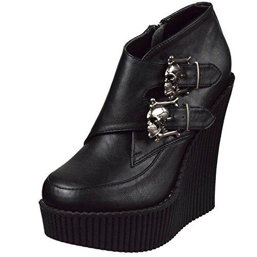 Demonia Women's Creeper 306 Platform Wedges, Black Vegan Leather, 9 M
