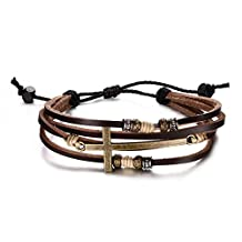 DIB Alloy Braided Rope Leather Cross Bracelet,Length Adjustable (7-11 inches)