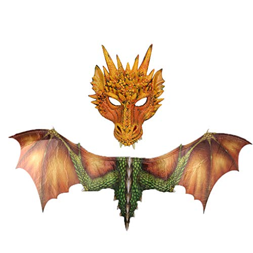 youeneom Halloween Dinosaurio Dragon Costume Animal Mask Wing Tail Child Animal Mask Wing Tail Accessory Eagle Wings for Child Adult (Yellow)