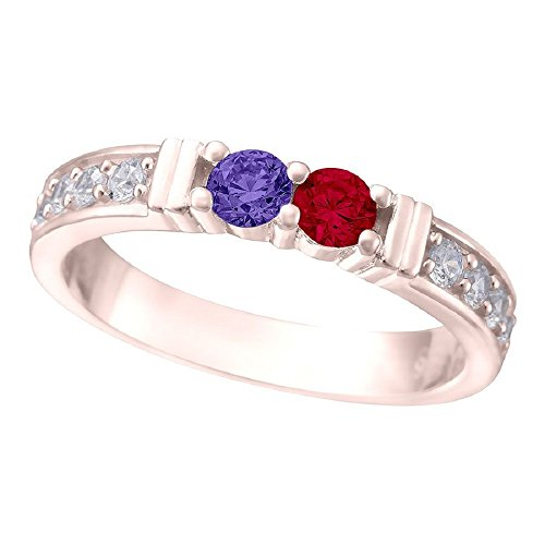 NANA Shared Prong w/side stones Couples 2 stones Ring with His & Hers Simulated Birthstones 14k Rose Gold - Size 8 by NaNa