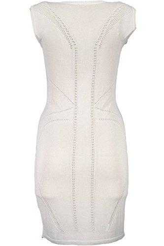 S04CT0739 Cavalli 101 Damen Just Bianco Kurtzes Kleid PRx1nnw5q