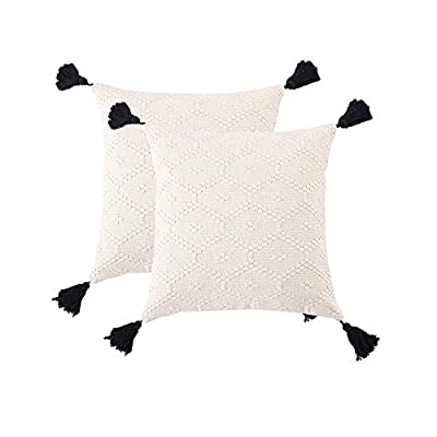 2-Pack Cushion Cover Set 2pcs Cotton Decorative Pillow Case Cushion Cover Square Warm Throw Pillow Cover 18x18