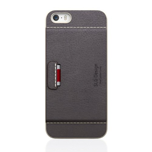 [SLG Design]D6 Italian Minerva Box Leather Card Pocket Bar for iPhone 5 / 5s (Gray)