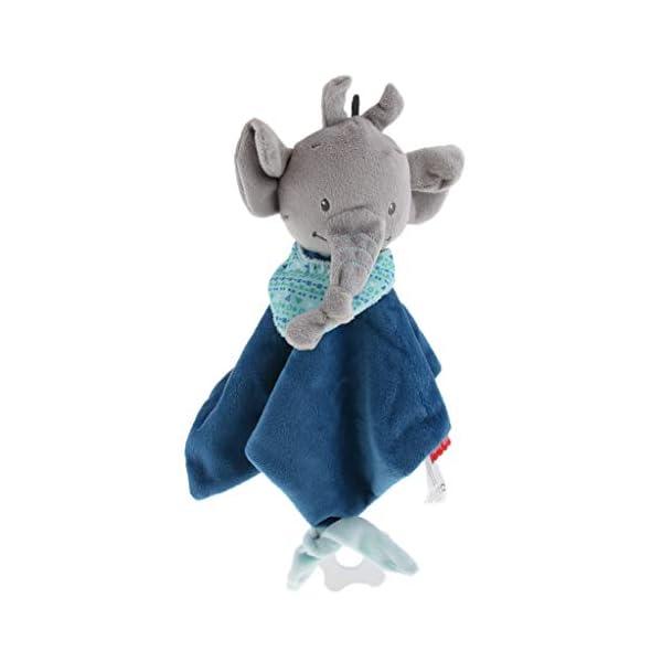 B Baosity Hochet d'Eveil Bébé - Doudou Serviette apaisante - Premier âge - Couverture de Sécurité - Garçon/Fille Enfant Lit Berceau Poussette Jouet - Éléphant Bleu foncé 1