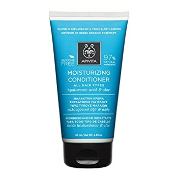3 X Apivita Moisturizing Conditioner for All Hair Types with Hyaluronic Acid and Aloe (New Product, Released in 2017) - 3 Tubes X 150ml/5.1oz each one