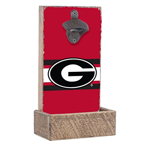 Rustic Marlin NCAA Georgia Bulldogs Bottle Opener with Team Color Stripes, Red, 12
