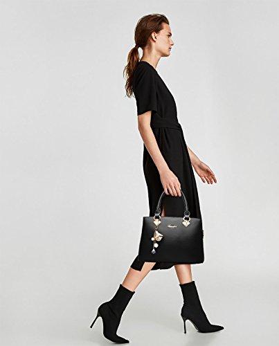 Bag spalla donna moda Sdinaz a tracolla Nero Borsa a Tote monocromatica AqgIzgr