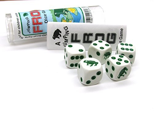 Frog Dice Game 5 Dice Set with Travel Tube and Instructions by Koplow Games