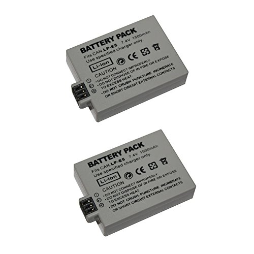 2 pcs 1500 mAh LP-E5 LPE5 Battery for Canon PM048 EOS 1000D 450D 500D KISS X2 X3 F Rebel XS XSi T1i