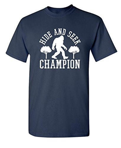 Bigfoot Hide and Seek Graphic Novelty Sarcastic Funny T Shirt S Navy