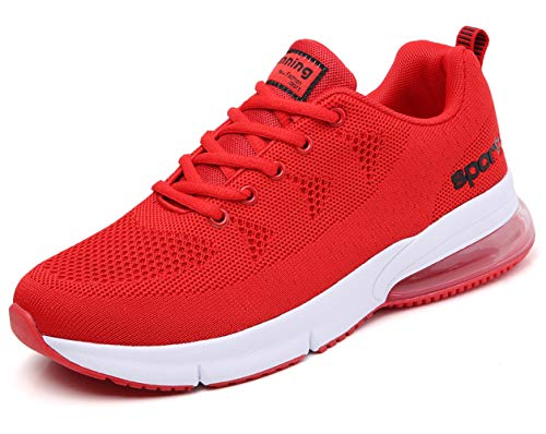 (men air cushion sport trail running shoes flyknit mesh breathable comfort athletic walking shoes youth boys tennis shoes man gym workout jogging casual sneakers runner trainer Red Size 10 (1020-red-44))