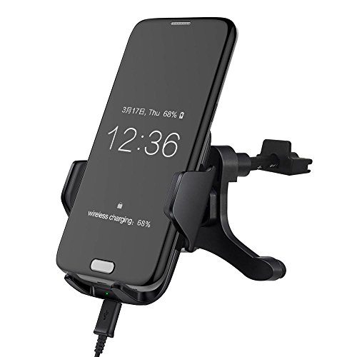 FTXJ NEW Qi Wireless Fast Charger Stand Dashboard Air Vent Car Mount Holder For Samsung (Dash Mount Docking Kit)