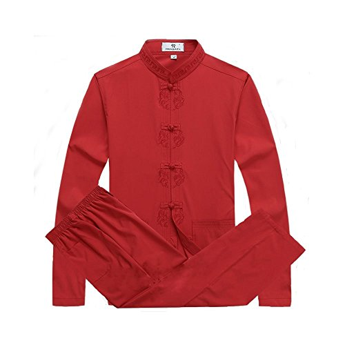 Mens Chinese Traditional Martial Arts Kung Fu Uniform Tang Suit (Red, (Silk Uniform)