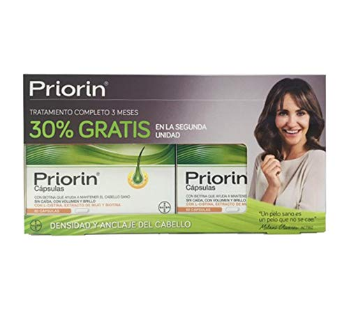 Priorin 2x60 Caps. – Food Supplement – Beauty Care – Millet Extract, Wheat Germ Oil, L-Cysteine And Vitamin B5 – Softer, Shiner And Healthty Hair – Nutrients And Strength ()