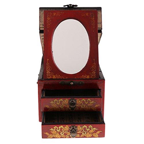 Baoblaze Vintage Jewelry Box Case Wooden Makeup Dresser Chest Cabinet Keepsake Home Decoration - Red, as described by Baoblaze (Image #3)