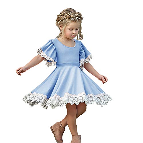 Kids Baby Girls Dress Lace Edge Floral Party Dress Short Flare Sleeve Pink Dress Clothes (4-5 Years, Blue lace Party Dress) -