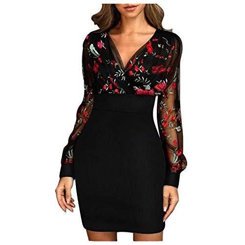 SmallYin Avondjurk, damesjurk, jurk met V-hals, paillettenjurk, dames lange mouwen, mesh stiksels, sexy hip jurk…