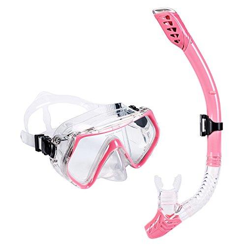 UPhitnis Seaview Adult Snorkel Set - Easybreath Diving Gear [Dry Snorkel & Snorkeling Mask] - Clear Vision Tempered Glass, Adjustable Strap