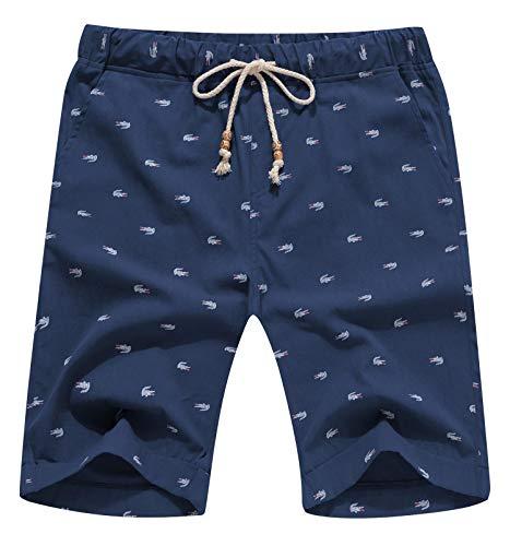 Aiyino Men's Linen Casual Classic Fit Short Summer Beach Shorts Navy Crocodile Small