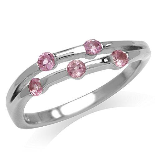 (5-Stone Natural Pink Tourmaline White Gold Plated 925 Sterling Silver Modern Ring Size 8)