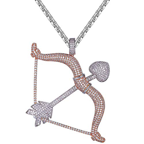 Men's Rose Gold Tone Cupid Bow and Arrow Love Heart Iced Out Bling Pendant Free Steel Chain