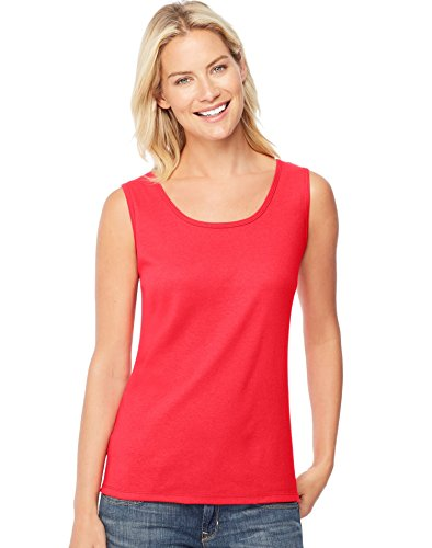 (Hanes Women's Mini-Ribbed Cotton Tank_Red Spark_XL)
