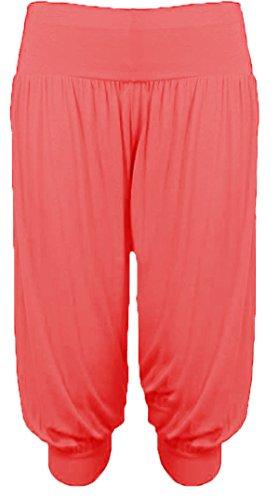 Damen 3/4 Hose Harem Ali Baba Damen kurze Hose Shorts, Rot - Korallenrot